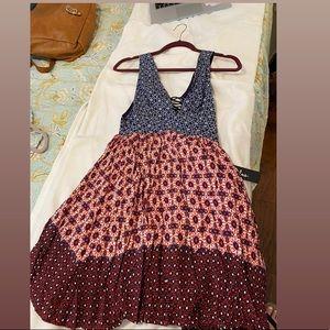 Lulu's Dresses - La Vie en Roses Navy blue/red floral print dress